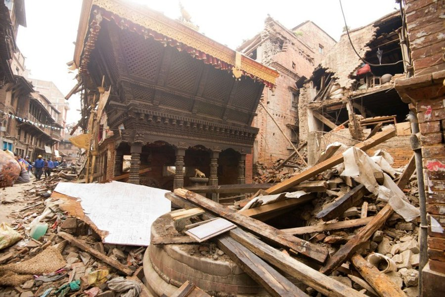Destruction after the earthquake in Nepal