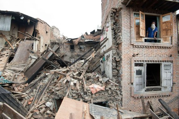 Destruction after the earthquake in nepal 2015